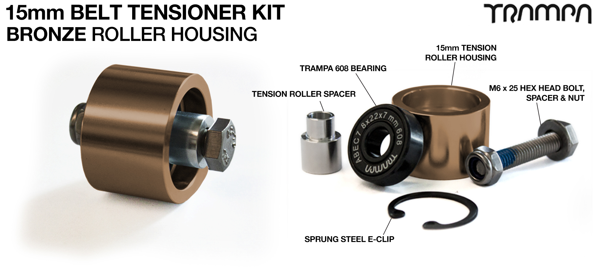 OPEN BELT DRIVE Belt Tensioning System for 15mm Belts - BRONZE