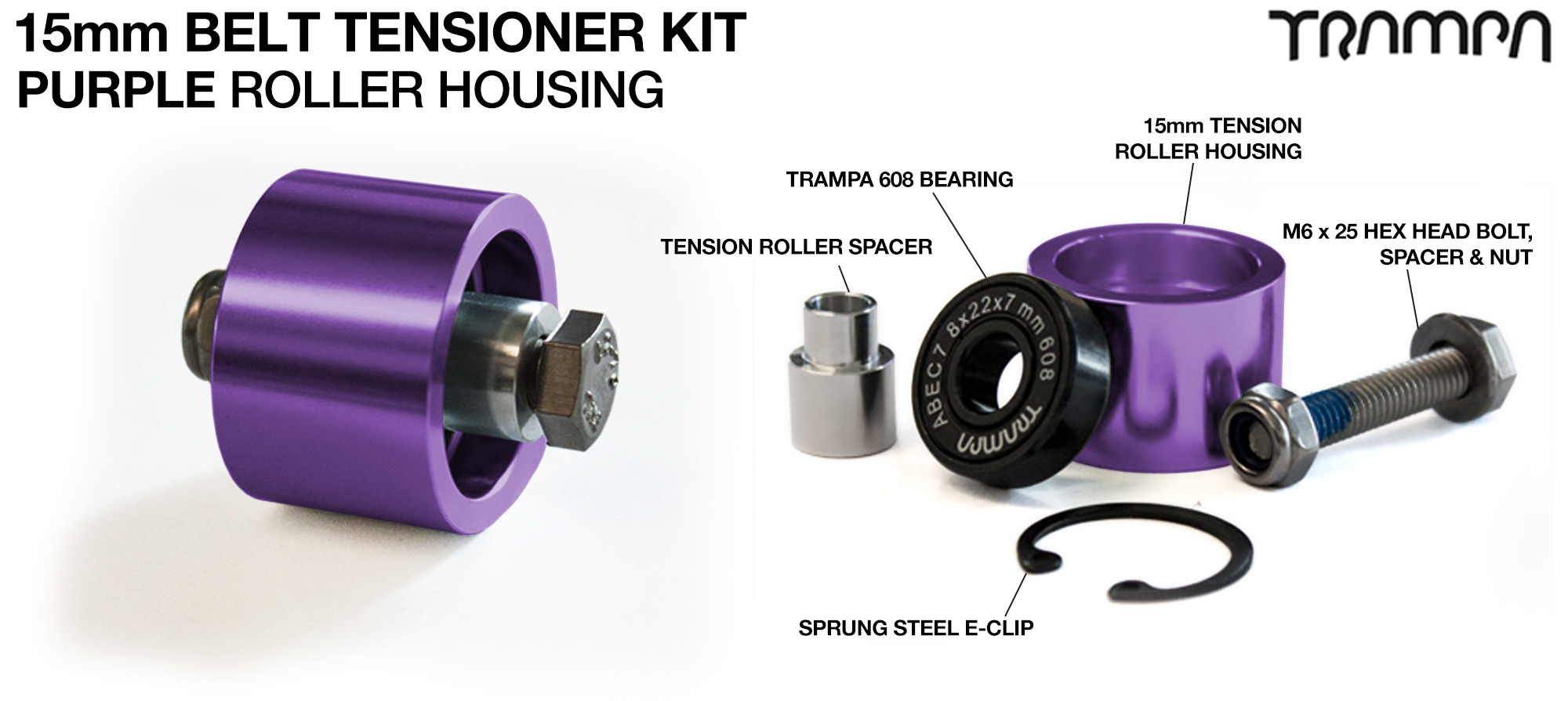 OPEN BELT DRIVE Belt Tensioning System for 15mm Belts - PURPLE