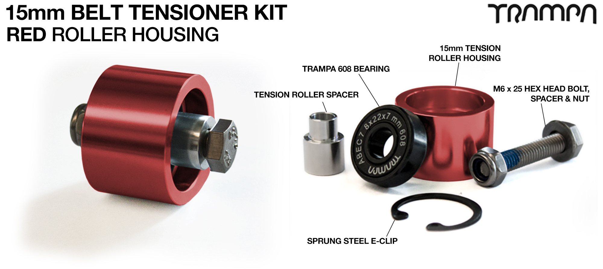 RED 15mm Belt Tensioners