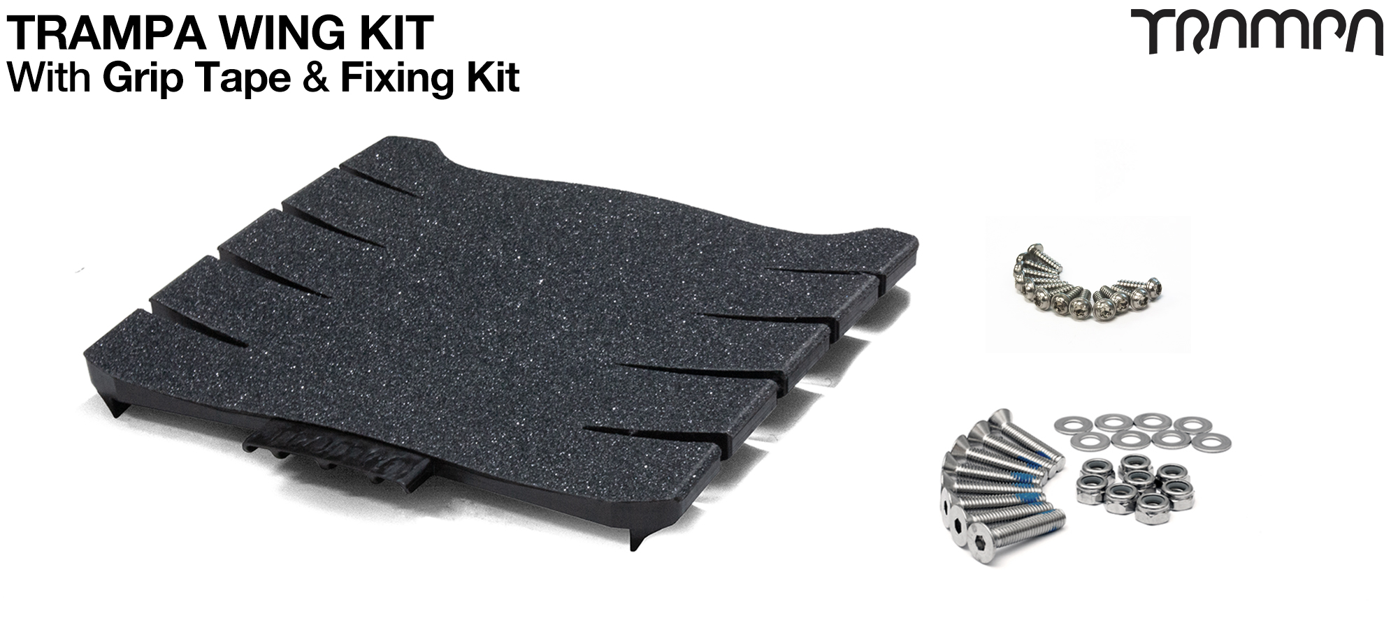 TRAMPA WING KIT Complete with Grip Tape & Bolt kit - Widens & Stiffens your deck whilst supplying a routing channel for cables for motors & lights