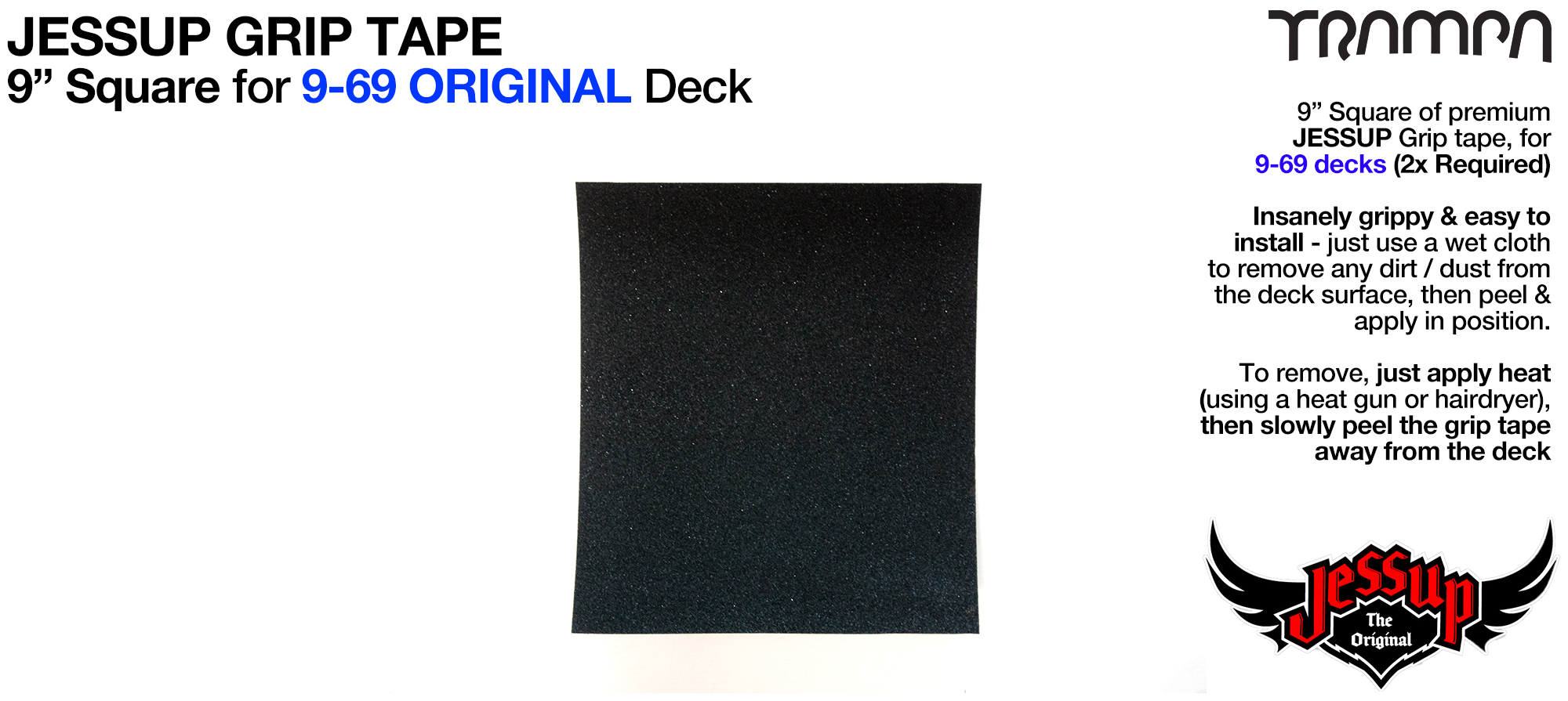 1x 9 Inch squares of Top Quality Jessup Grip tape