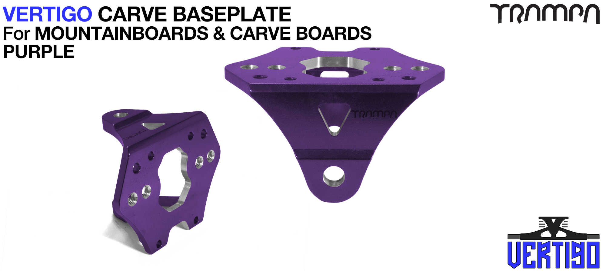 PURPLE Anodised with BLACK logo VERTIGO Baseplate  - OUT OF STOCK