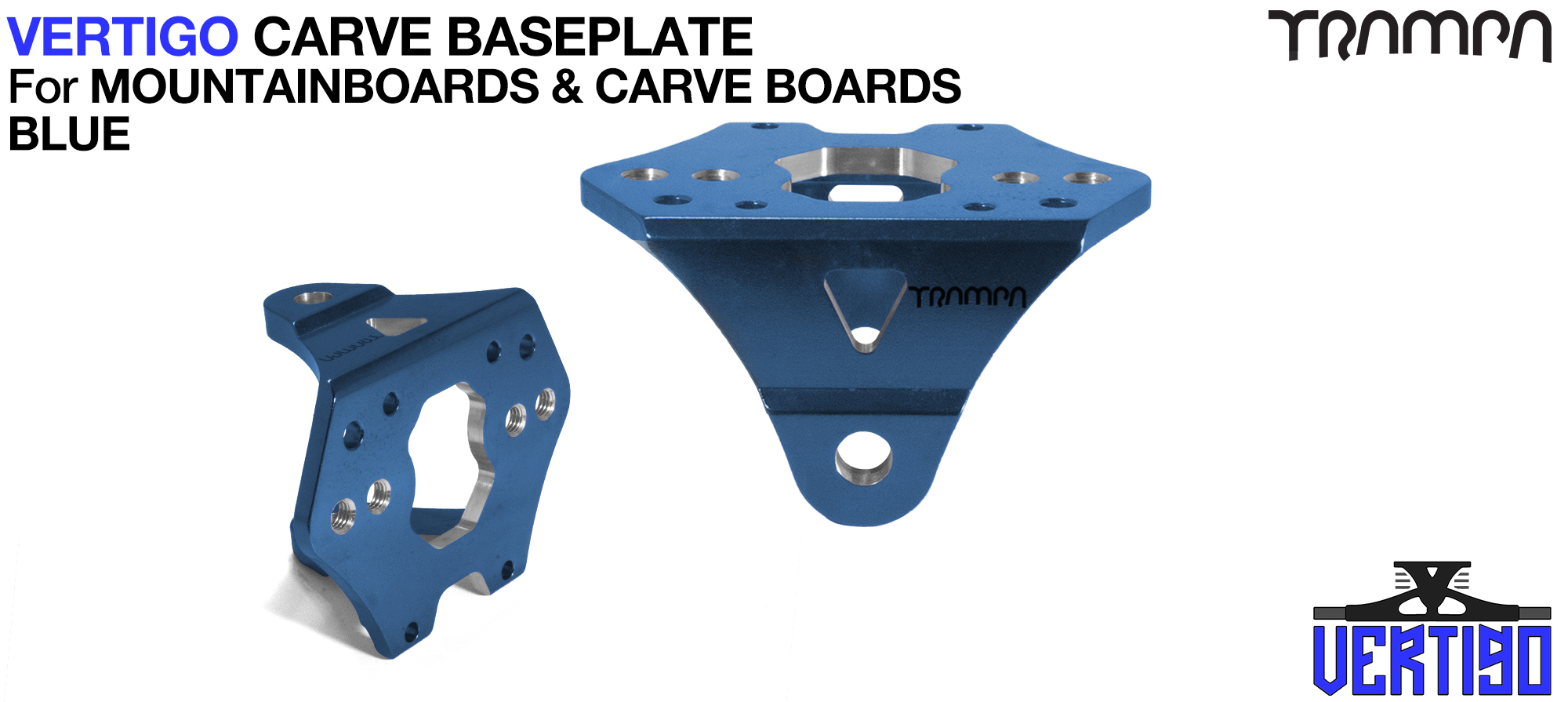 BLUE Anodised with BLACK logo VERTIGO Baseplate  - OUT OF STOCK
