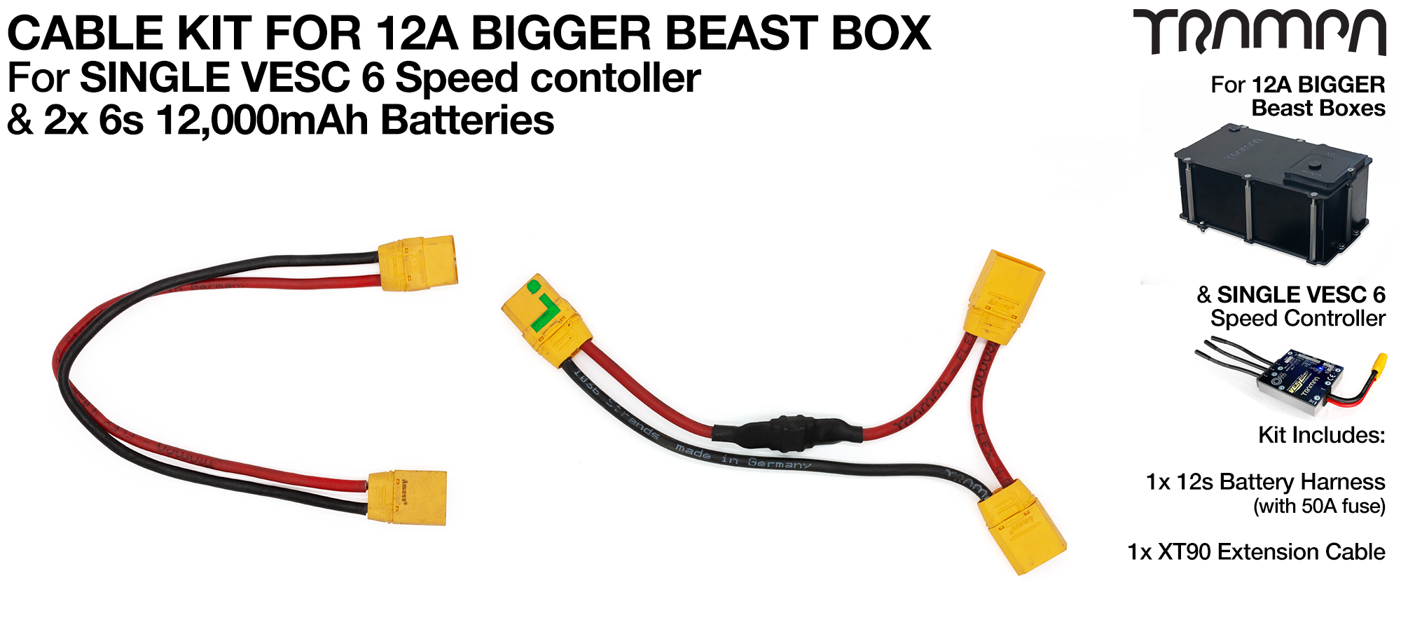 12A Bigger BEAST BOX & Single VESC 6 Cable Kit
