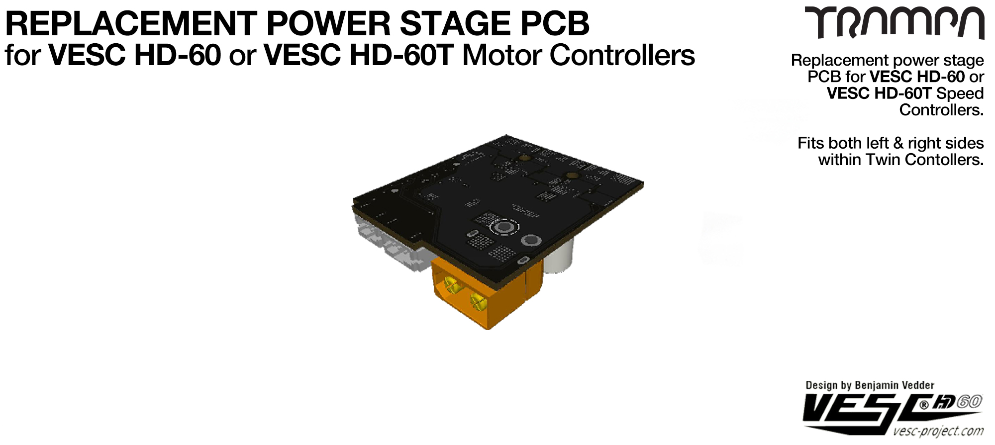 Replacement Power Stage PCB for 60V rated VESC HD motor controllers