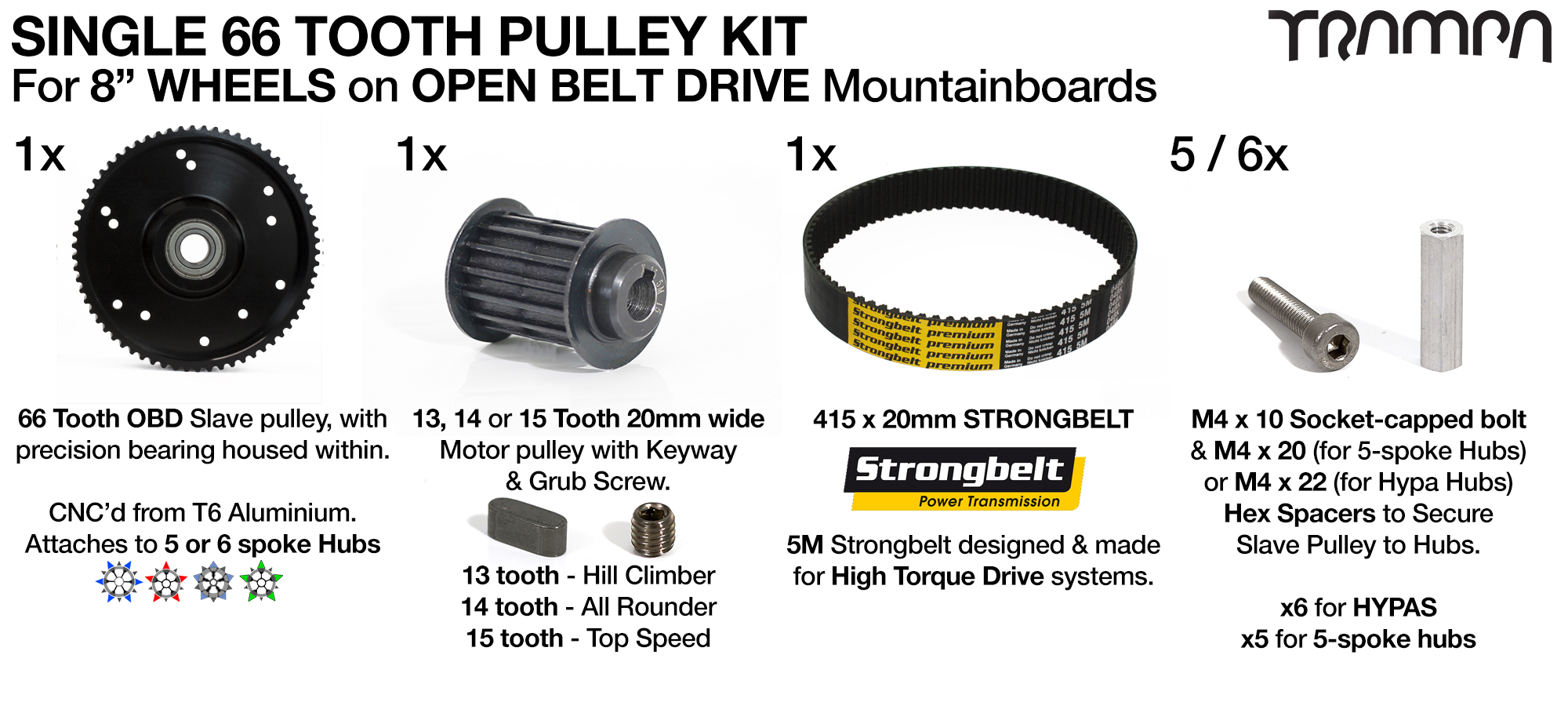 66T Open Belt Drive 8 Inch Wheel 66 Tooth Pulley Kit with 415mm x 20mm Belt for 8 Inch Wheels - SINGLE