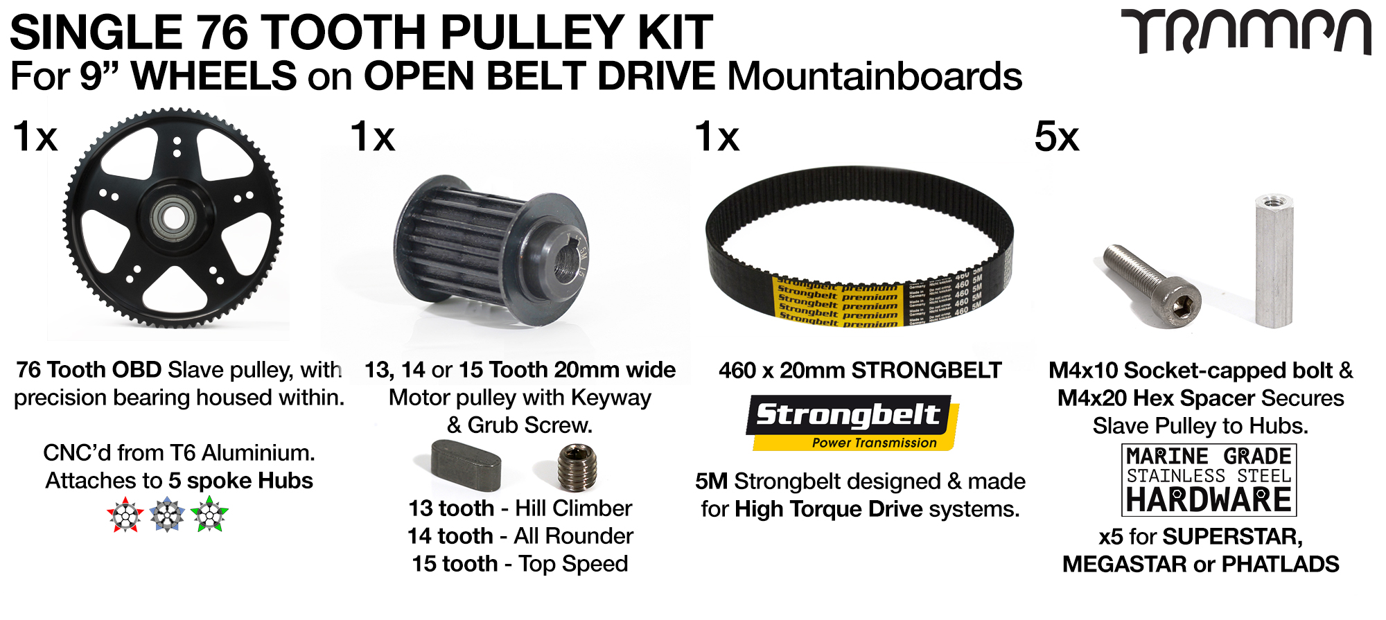 76T Open Belt Drive 76 Tooth Pulley Kit with 460mm x 20mm Belt for 9 Inch Wheels HIGH TORQUE - SINGLE