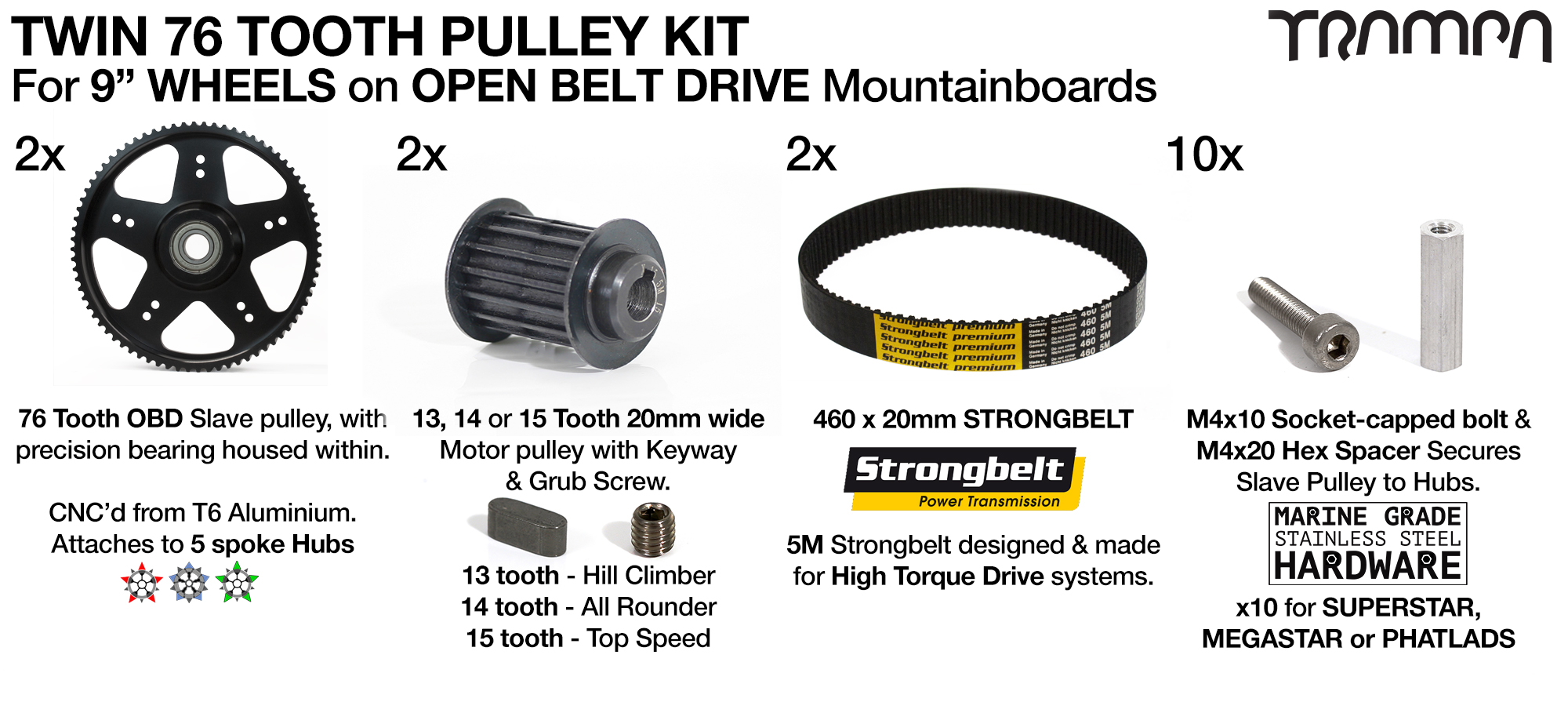 76T Open Belt Drive 76 Tooth Pulley Kit with 460mm x 20mm Belt for 9 Inch Wheels HIGH TORQUE - TWIN