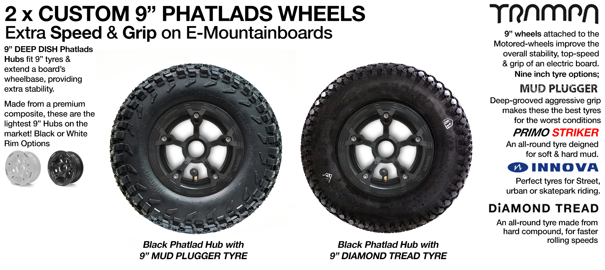 9 inch PHATLADS Wheel x2 Special offer for Complete Boards
