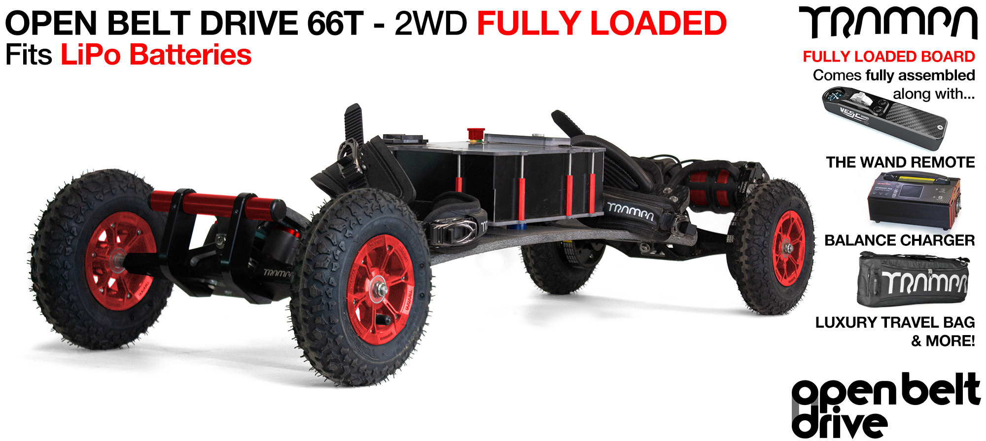 OPEN BELT DRIVE Electric Mountainboard with MONSTER Box with 8 inch Wheels & Twin Motor - LOADED Li-Po