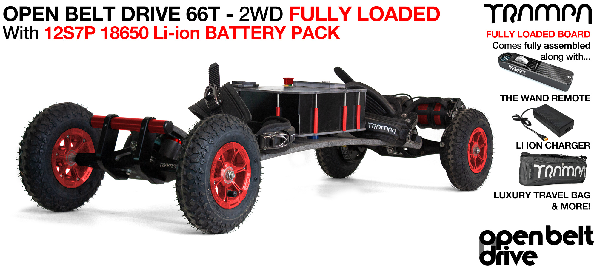 OPEN BELT DRIVE Electric Mountainboard with MONSTER Box with 8 or 9 inch Wheels & Twin Motor - LOADED CELL Pack