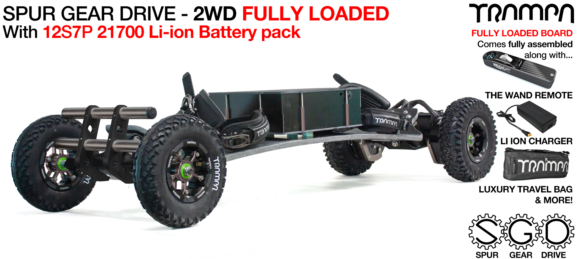 2WD SPUR GEAR DRIVE Electric Mountainboard - FULLY LOADED BigBoi Deck with 21700 Cell Pack, The WAND, a 12A Charger & Bull Bars all included, Shipped fully assembled in a Luxury Travel Bag & as standard!!