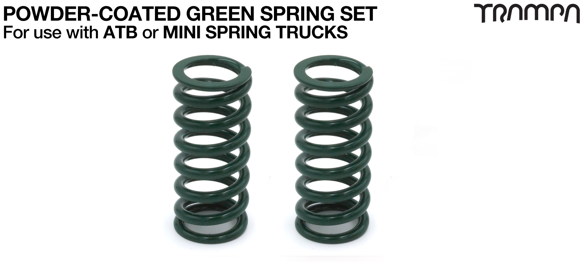 GREEN Powder coated Steel Springs x2