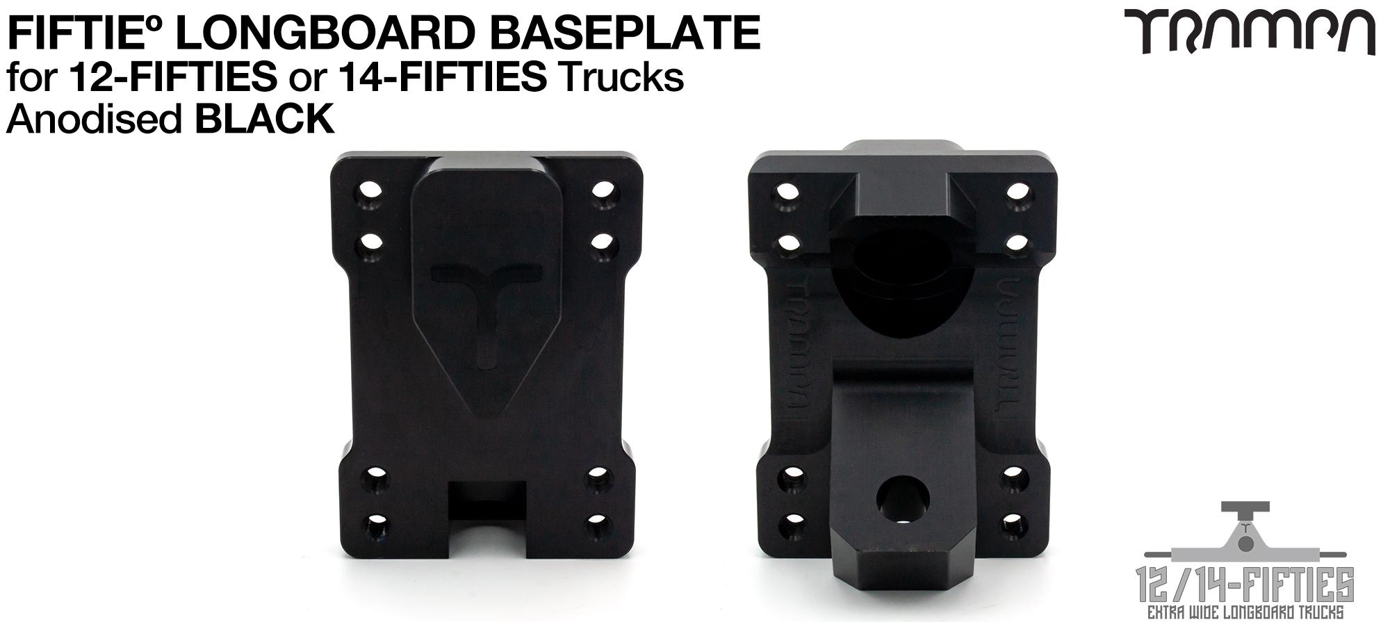 TRAMPA 12 & 14Fifties Extra Wide Longboard Truck BASEPLATE - BLACK