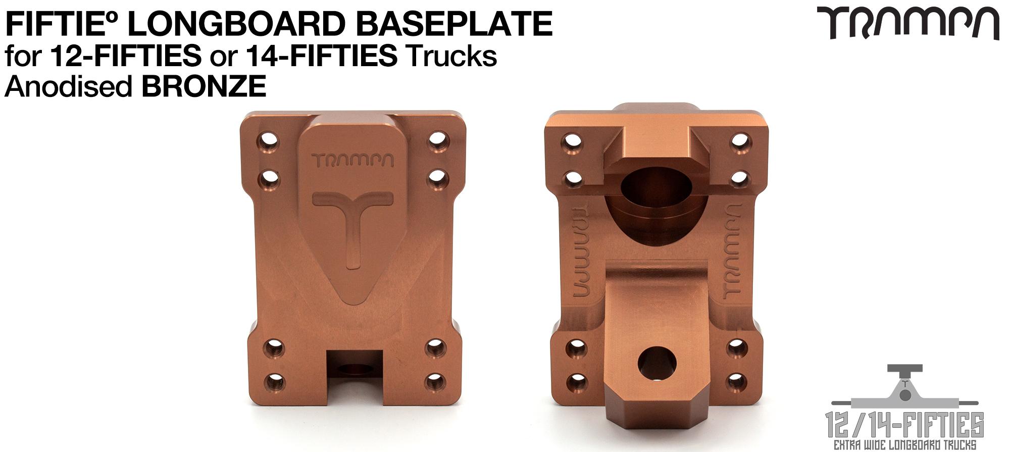 TRAMPA 12 & 14Fifties Extra Wide Longboard Truck BASEPLATE - BRONZE