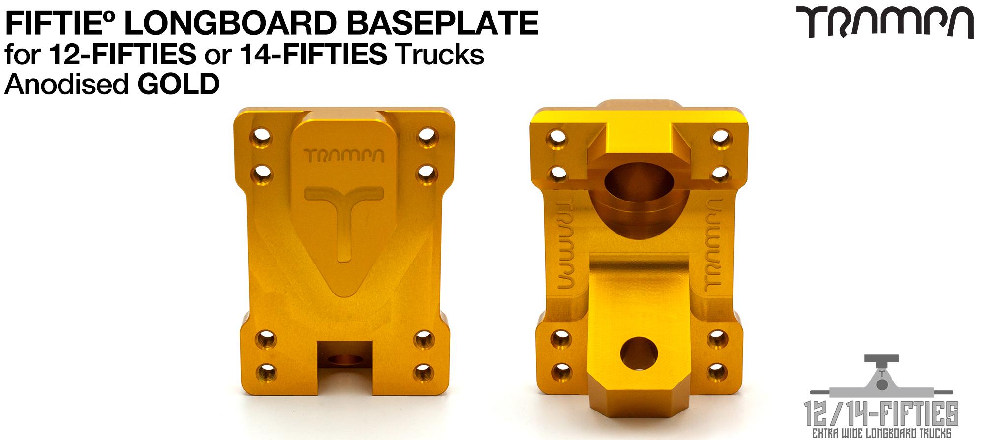 TRAMPA 12 & 14Fifties Extra Wide Longboard Truck BASEPLATE - GOLD