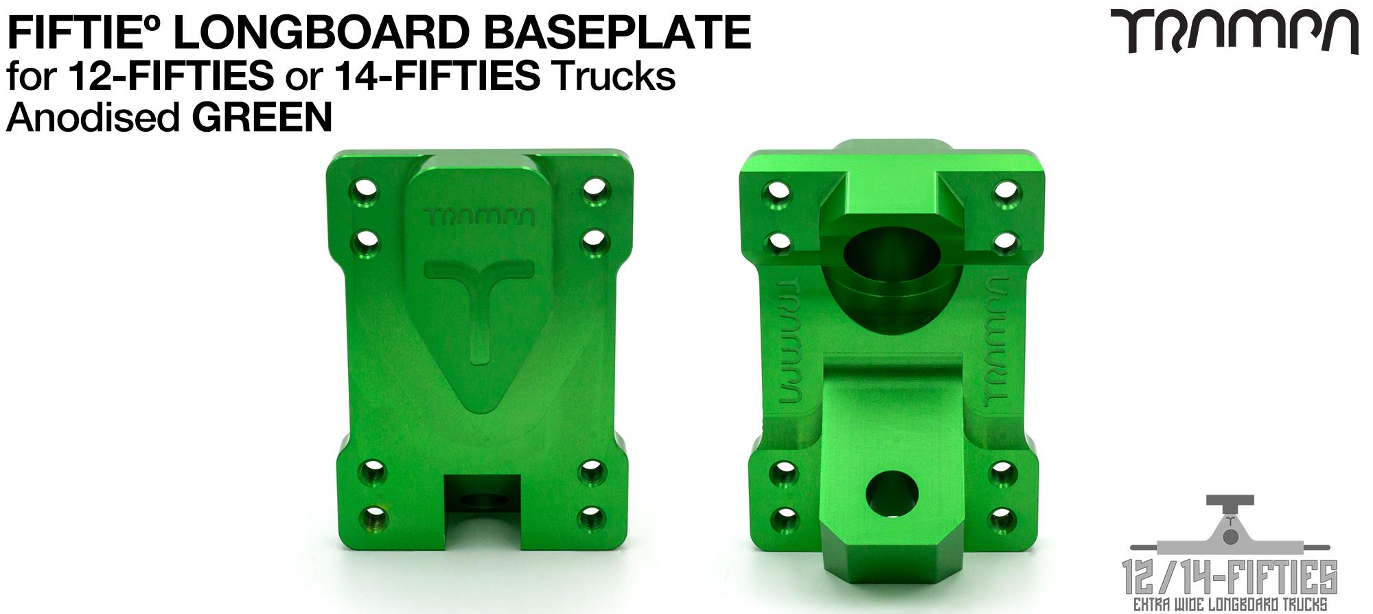 TRAMPA 12 & 14Fifties Extra Wide Longboard Truck BASEPLATE - GREEN