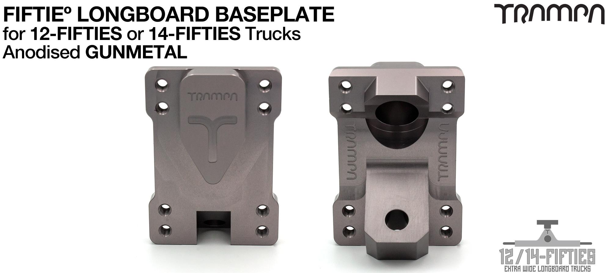 TRAMPA 12 & 14Fifties Extra Wide Longboard Truck BASEPLATE - GUNMETAL