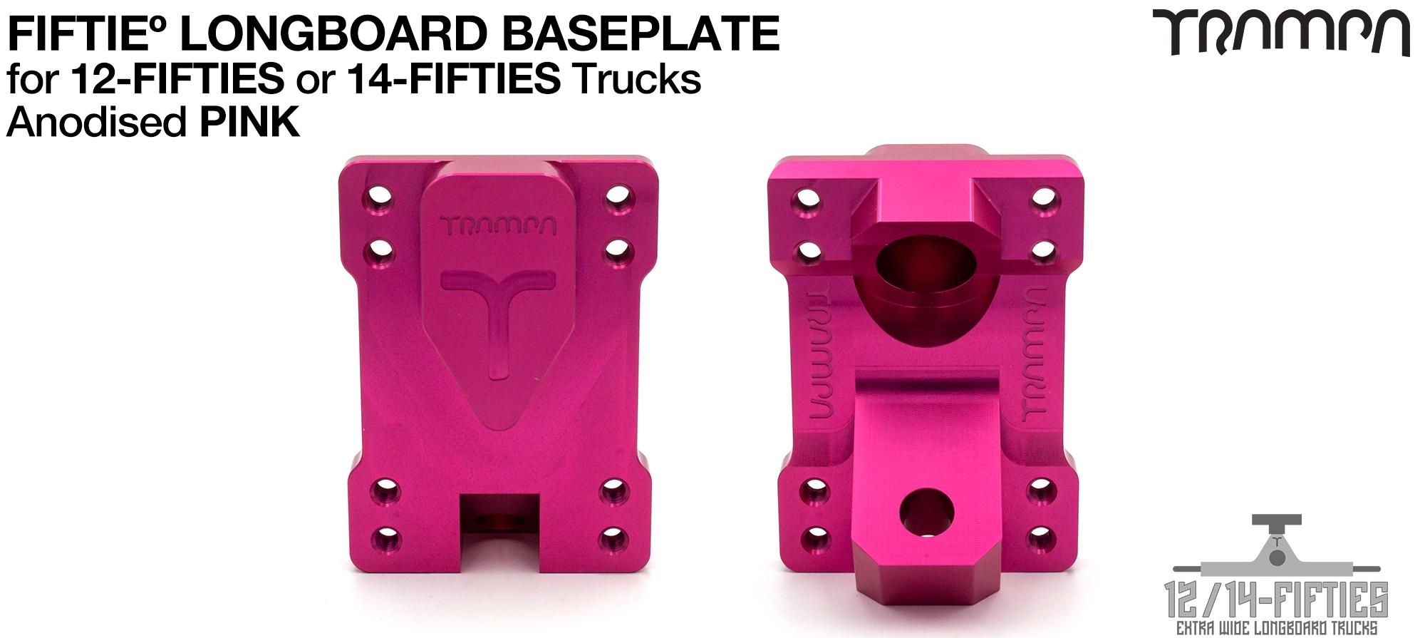 TRAMPA 12 & 14Fifties Extra Wide Longboard Truck BASEPLATE - PINK