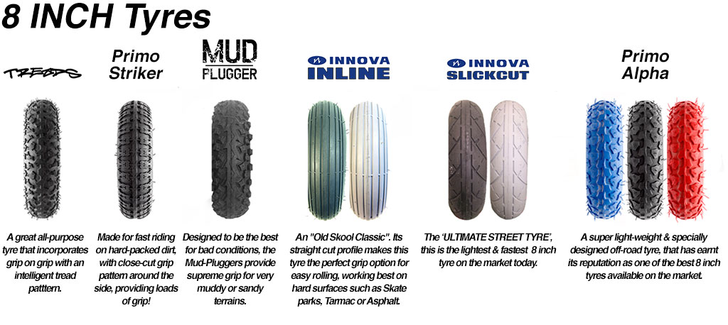 Custom FRONT Tyre for SPUR GEAR & PRO BELT Drive Electric mountainboards