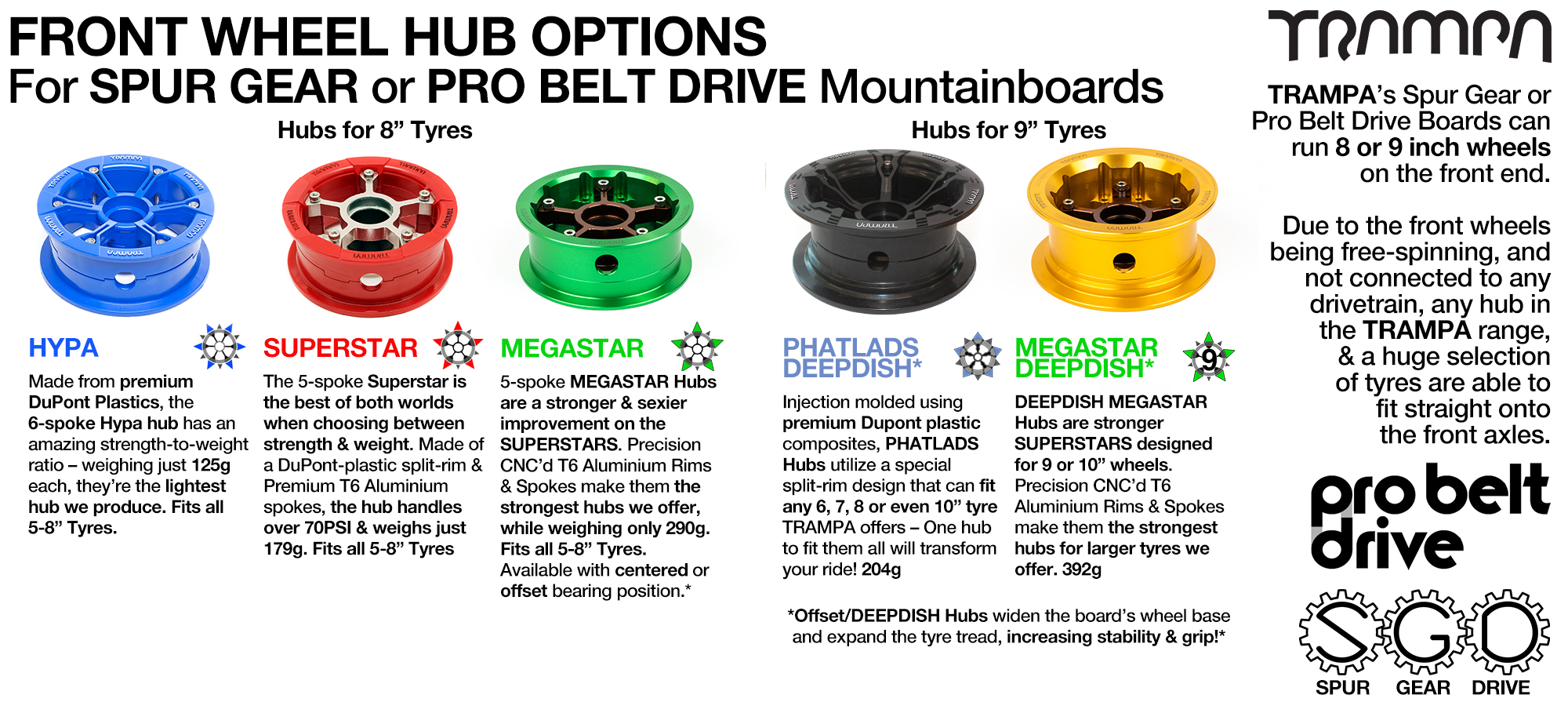 FRONT Wheel Hub options for SPUR GEAR & PRO BELT Boards