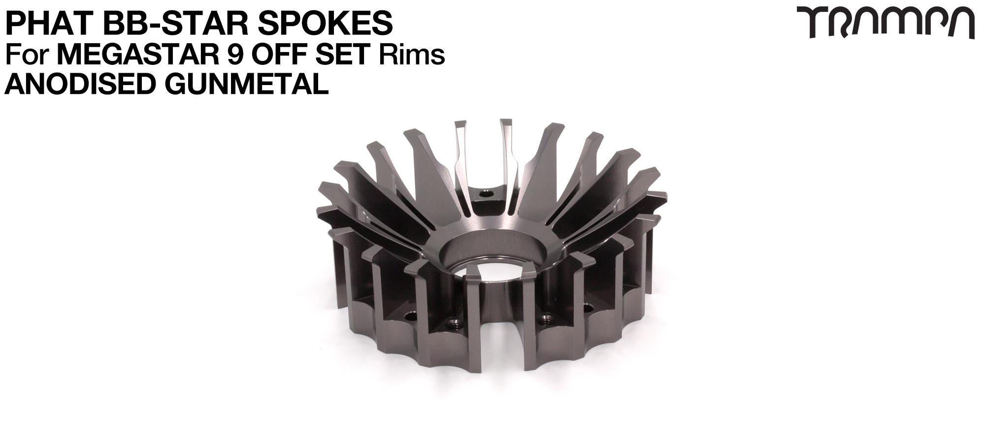 BB Star Spoke for 9 Inch DEEP-DISH MEGASTAR Rim - CNC Precision milled - GUNMETAL