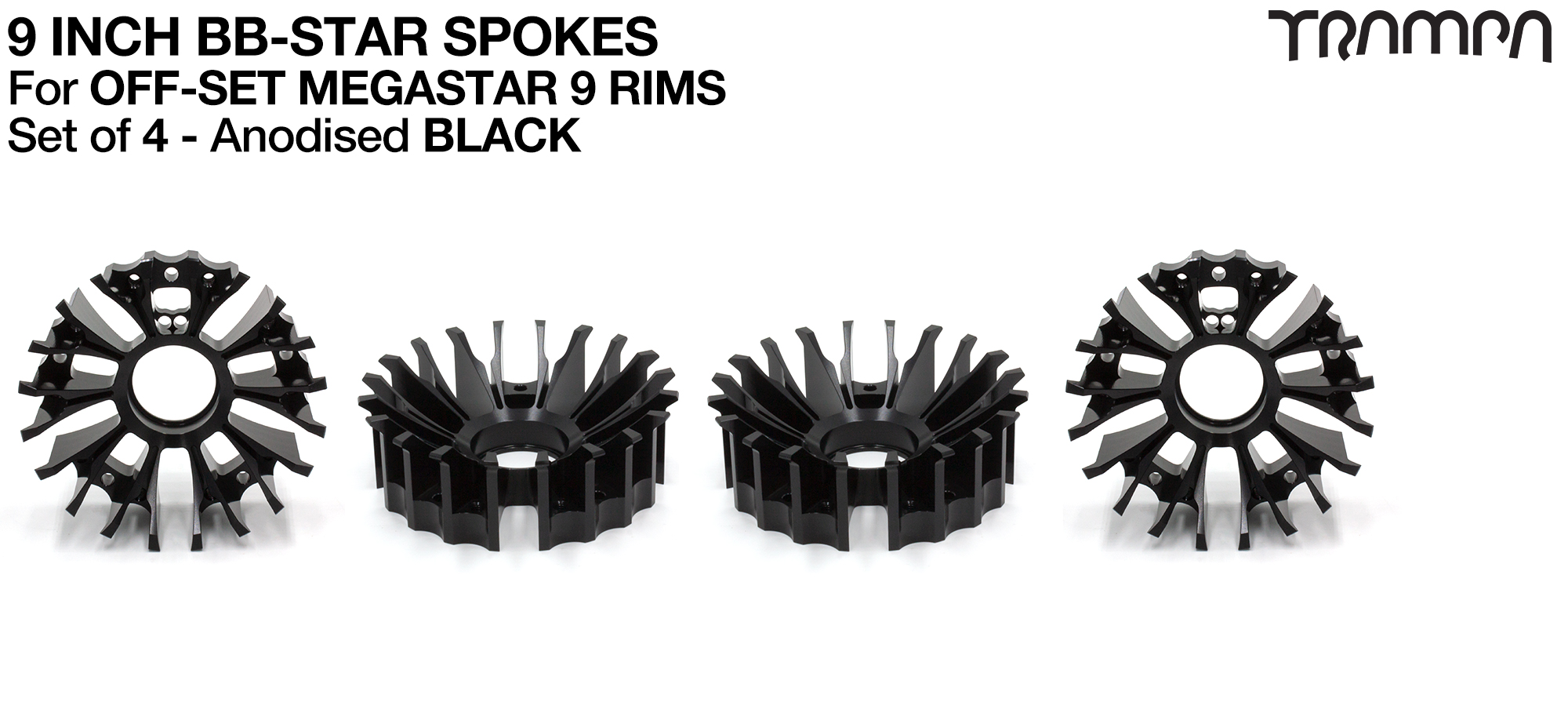 BBStar Spoke for SUPERSTAR or any size MEGASTAR rims - Extruded T6 Aluminium Heat treated & CNC Precision milled - BLACK