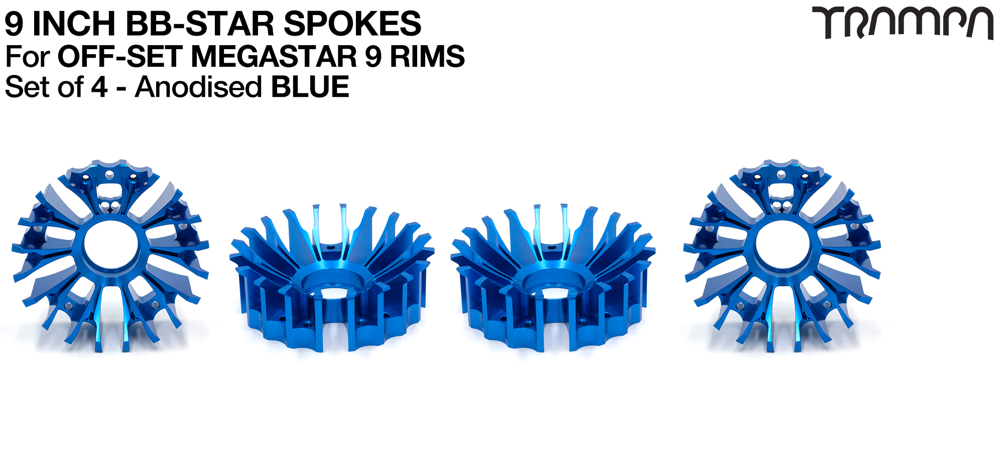 BBStar Spoke for SUPERSTAR or any size MEGASTAR rims - Extruded T6 Aluminium Heat treated & CNC Precision milled -  BLUE