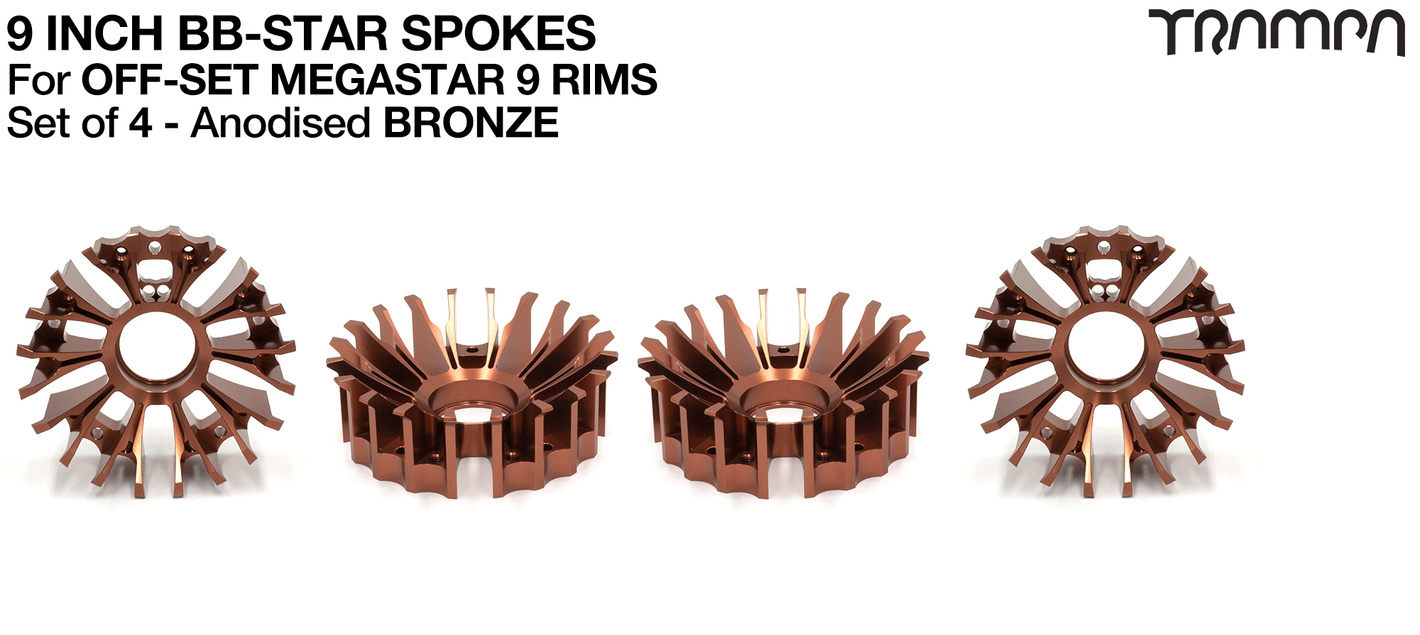 BBStar Spoke for SUPERSTAR or any size MEGASTAR rims - Extruded T6 Aluminium Heat treated & CNC Precision milled - BRONZE