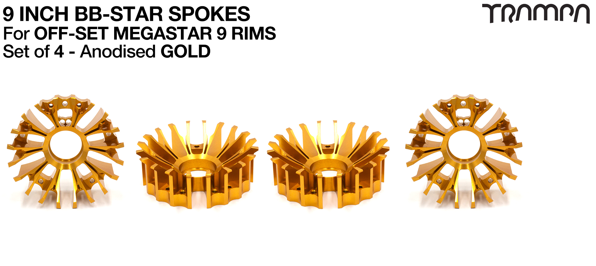 BBStar Spoke for SUPERSTAR or any size MEGASTAR rims - Extruded T6 Aluminium Heat treated & CNC Precision milled -  GOLD