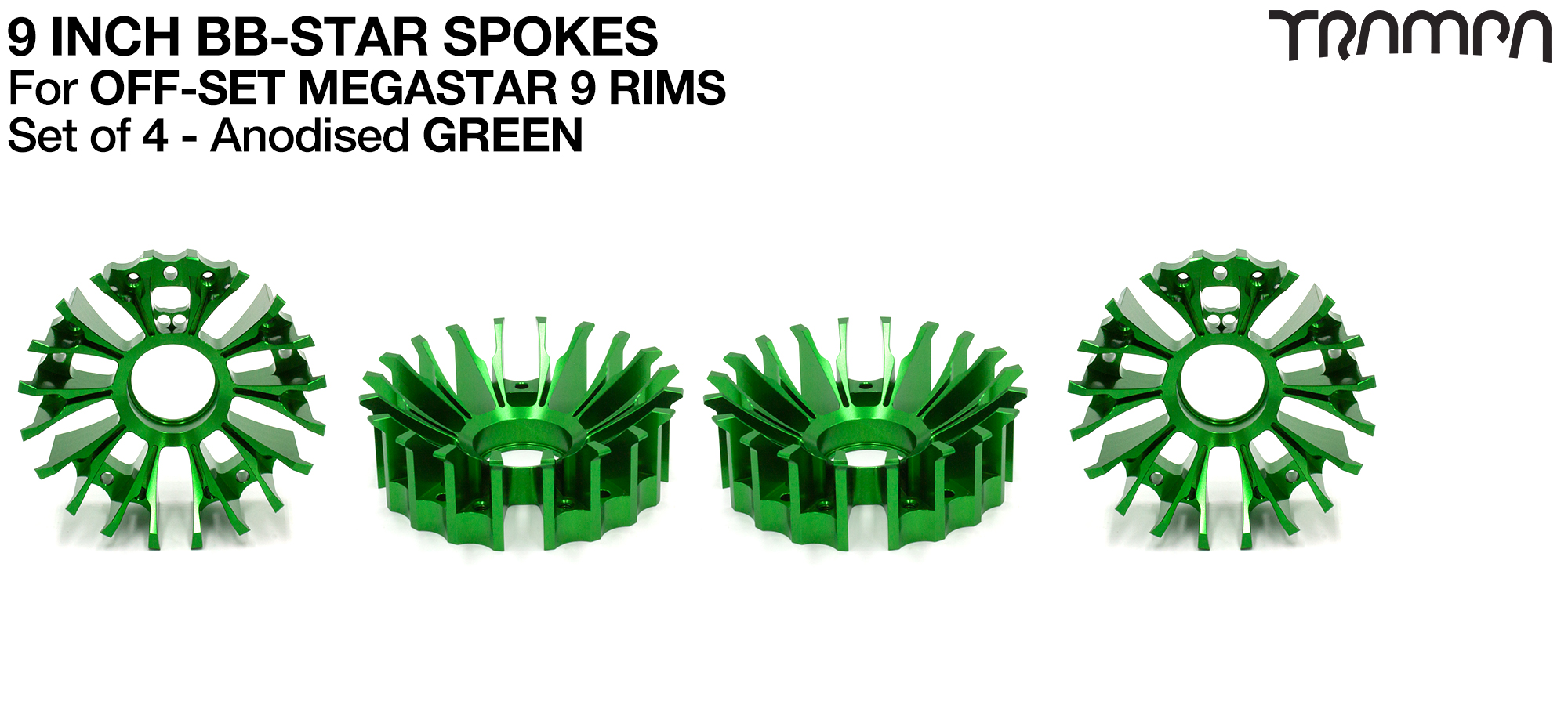 BBStar Spoke for SUPERSTAR or any size MEGASTAR rims - Extruded T6 Aluminium Heat treated & CNC Precision milled -  GREEN