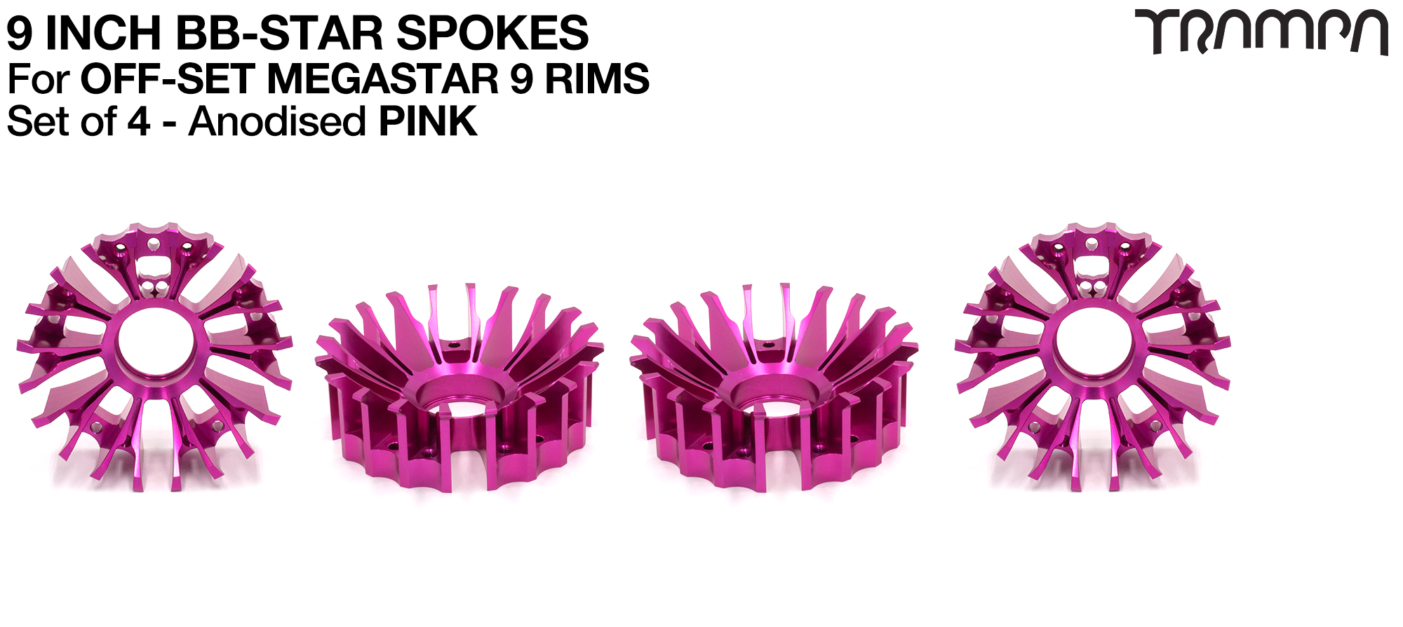 BBStar Spoke for SUPERSTAR or any size MEGASTAR rims - Extruded T6 Aluminium Heat treated & CNC Precision milled -  PINK