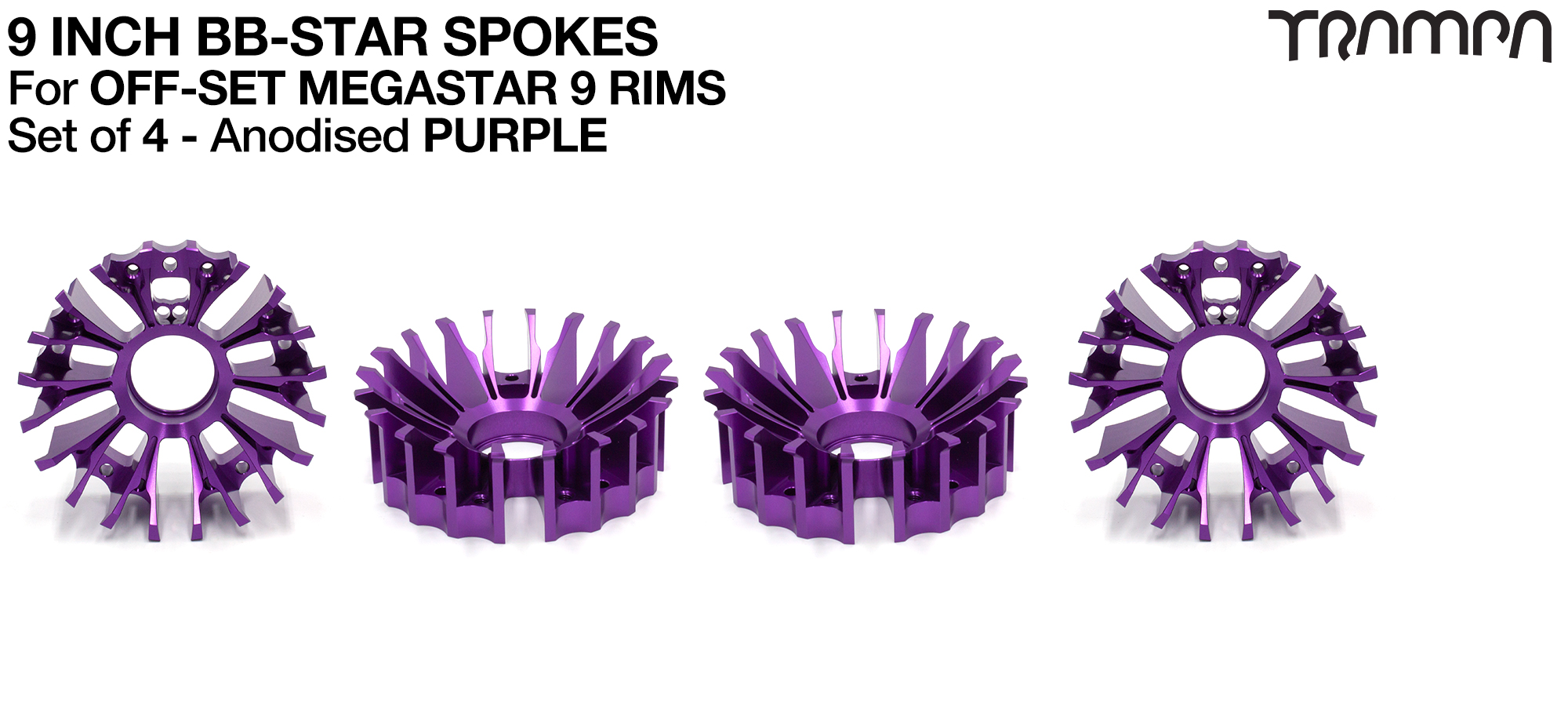 BBStar Spoke for SUPERSTAR or any size MEGASTAR rims - Extruded T6 Aluminium Heat treated & CNC Precision milled -  PURPLE