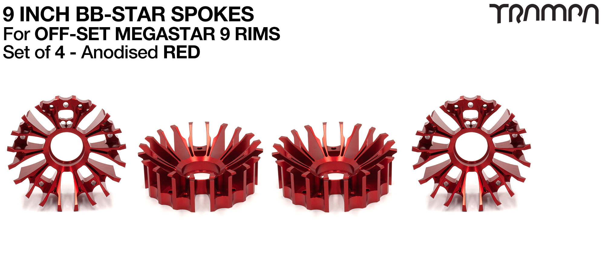 BBStar Spoke for SUPERSTAR or any size MEGASTAR rims - Extruded T6 Aluminium Heat treated & CNC Precision milled -  RED