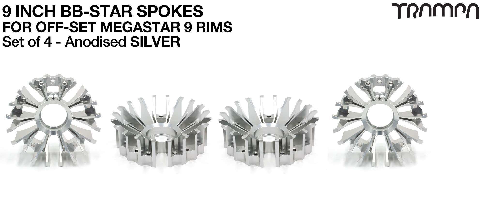 BBStar Spoke for SUPERSTAR or any size MEGASTAR rims - Extruded T6 Aluminium Heat treated & CNC Precision milled -  SILVER