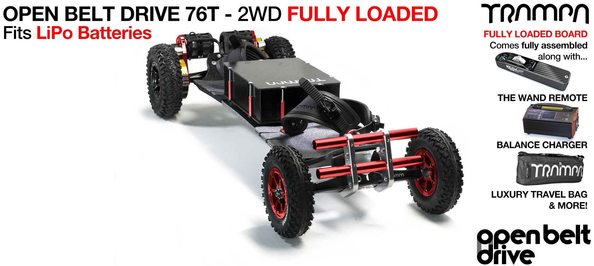 2WD OPEN BELT DRIVE Electric Mountainboard with MONSTER Box with 76t Pulley & Twin Motor - LOADED Li-Po