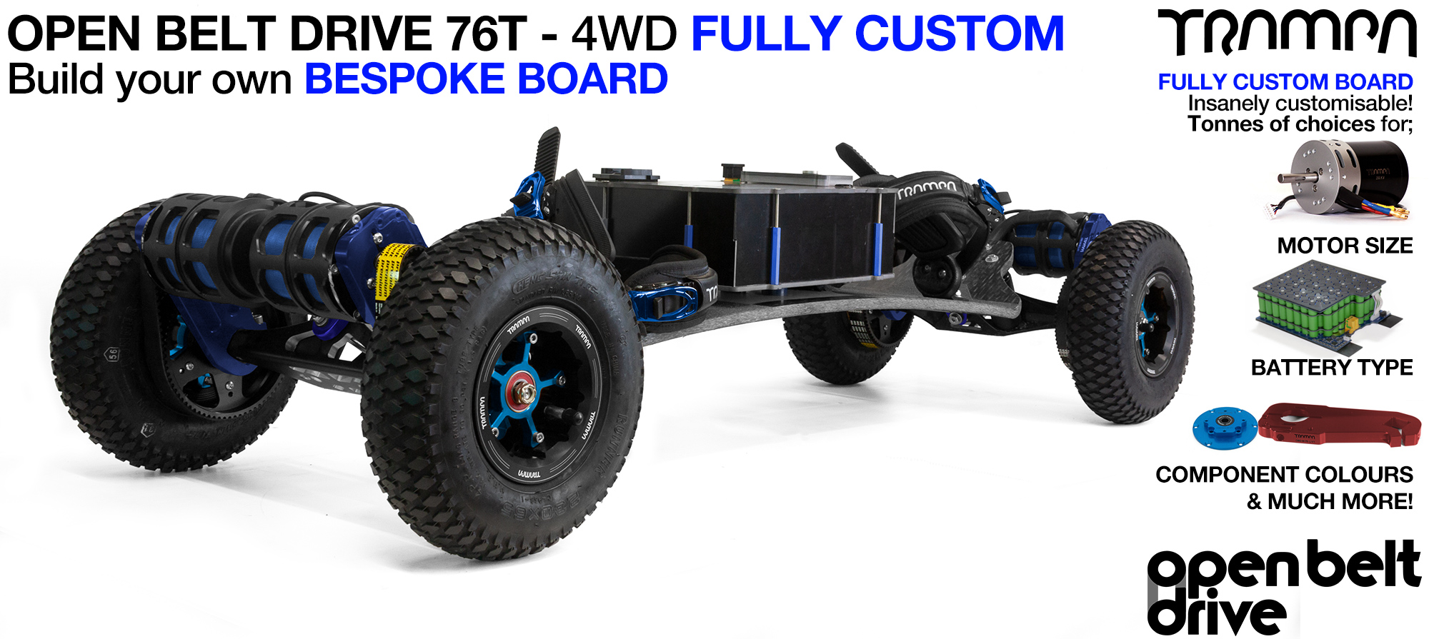 4WD 76t OPEN BELT DRIVE BIGBOI Electric TRAMPA Mountainboard - CUSTOM