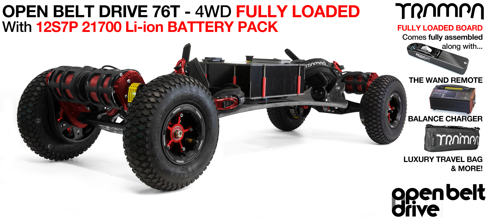 4WD 76t OPEN BELT DRIVE BIGBOI Electric TRAMPA Mountainboard - LOADED