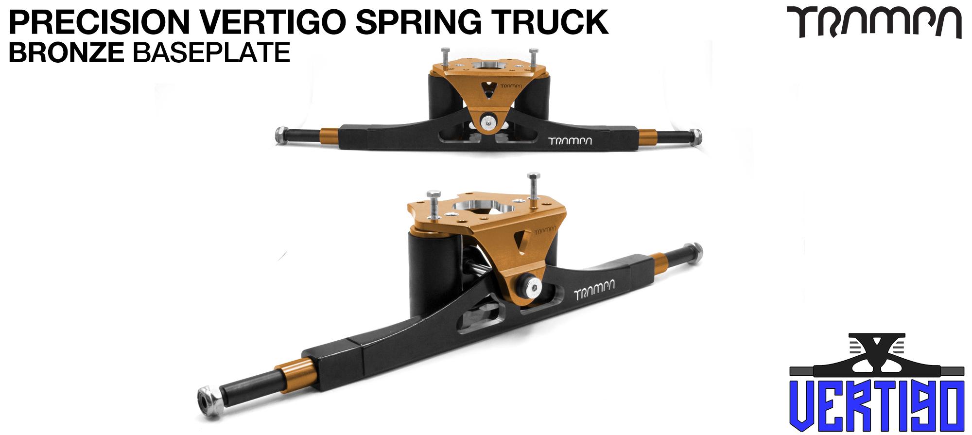 PRECISION CNC VERTIGO Truck Anodised BRONZE-  - 12mm Hollow Axles with GUNMETAL CNC baseplate Steel Kingpin TRAMPA Spring Trucks