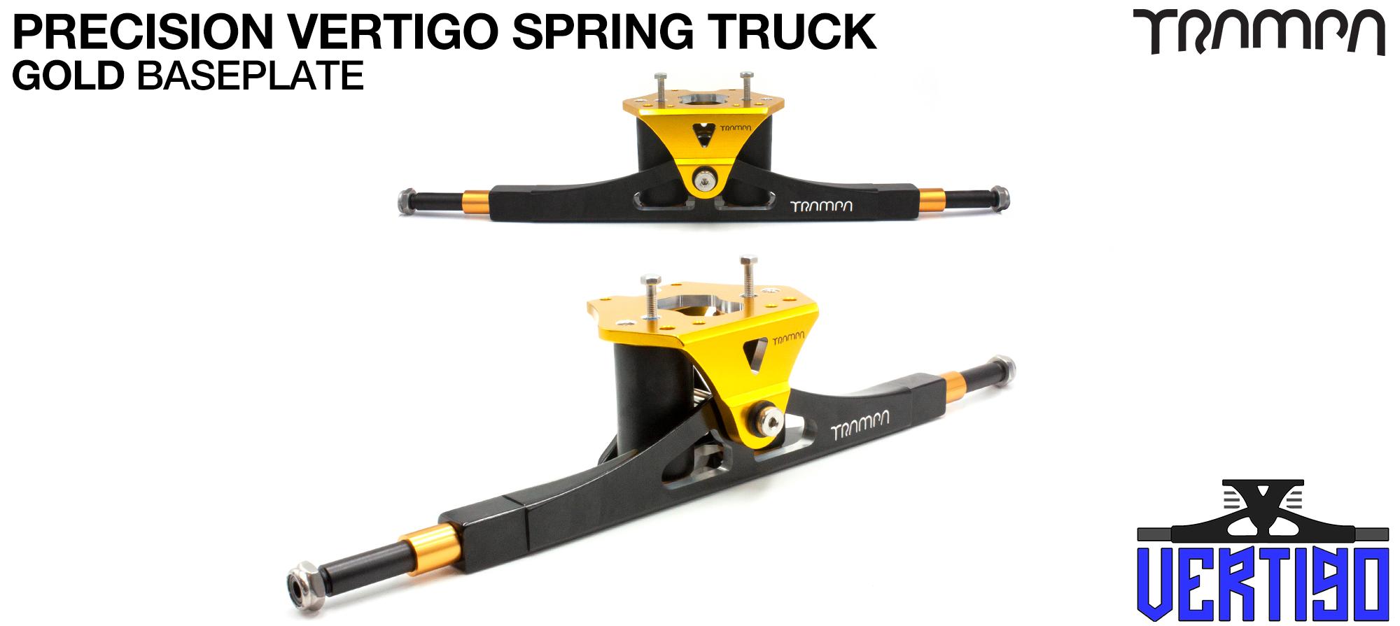 PRECISION CNC VERTIGO Truck Anodised GOLD  - 12mm Hollow Axles with GUNMETAL CNC baseplate Steel Kingpin TRAMPA Spring Trucks