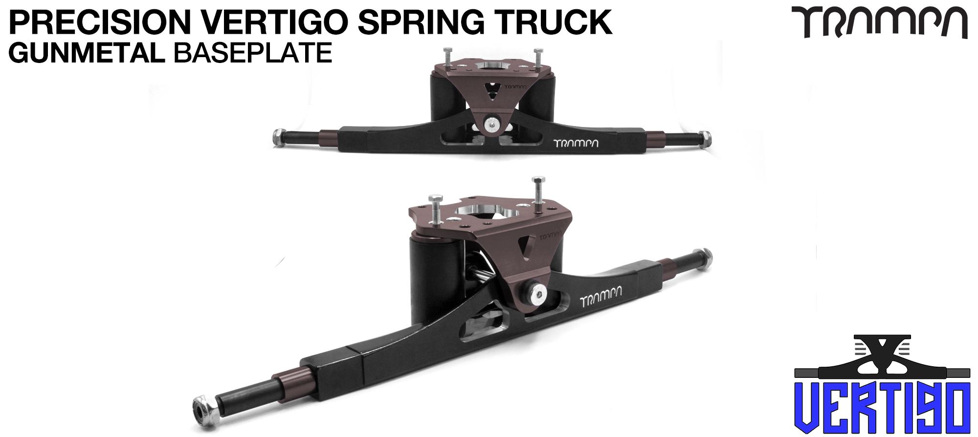 PRECISION CNC VERTIGO Truck  GREEN - 12mm Hollow Axles with GUNMETAL CNC baseplate Steel Kingpin TRAMPA Spring Trucks