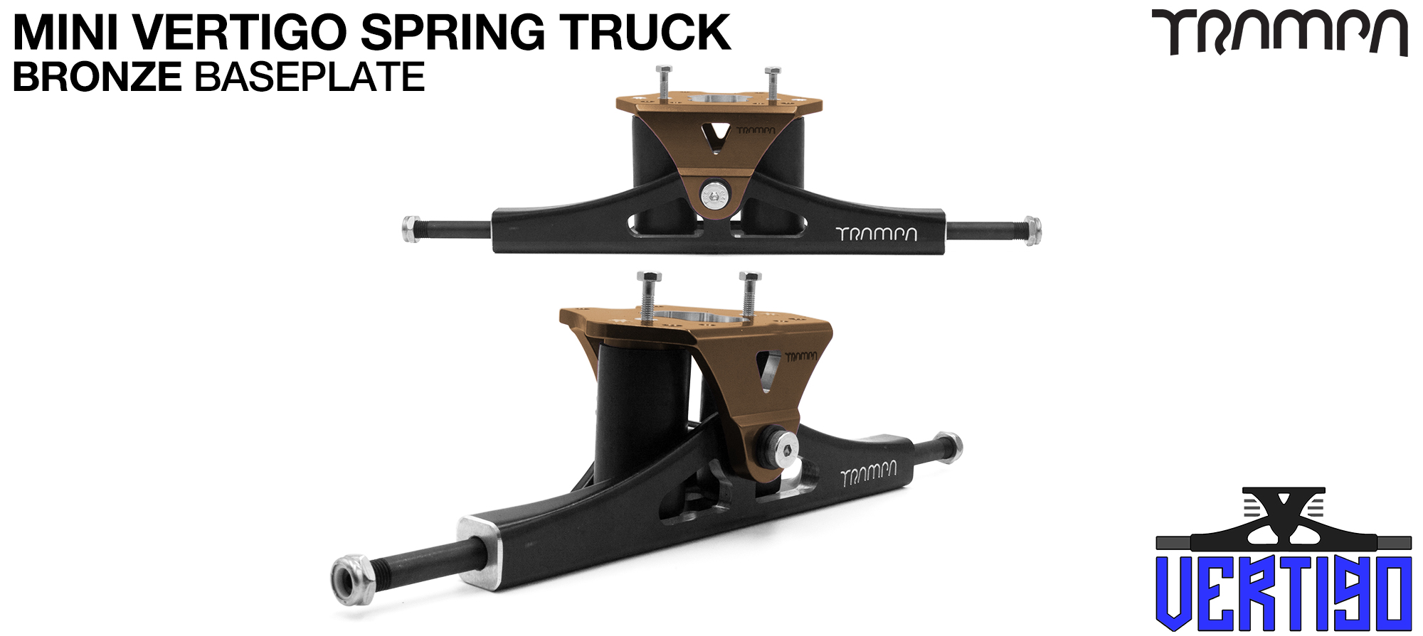 Mini VERTIGO TRAMPA TRUCKS - CNC FORGED Channel Hanger with 9.525mm HOLLOW Steel Axle CNC Baseplate Stainless Steel Kingpin - BRONZE