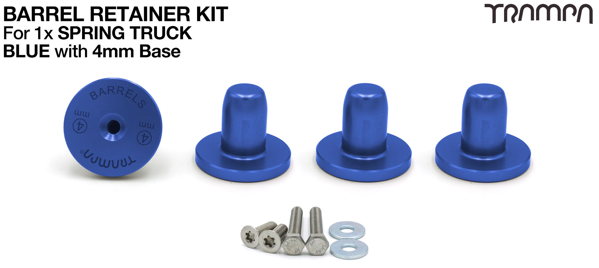 BLUE Barrel Retainers x4 with 4mm Base
