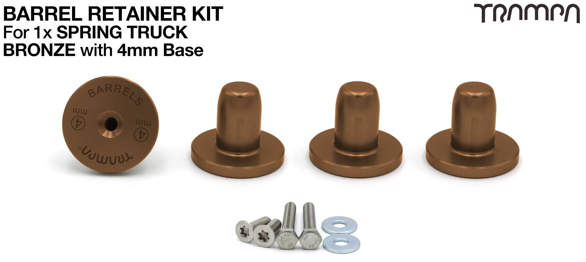 BRONZE Barrel Retainers x4 with 4mm Base