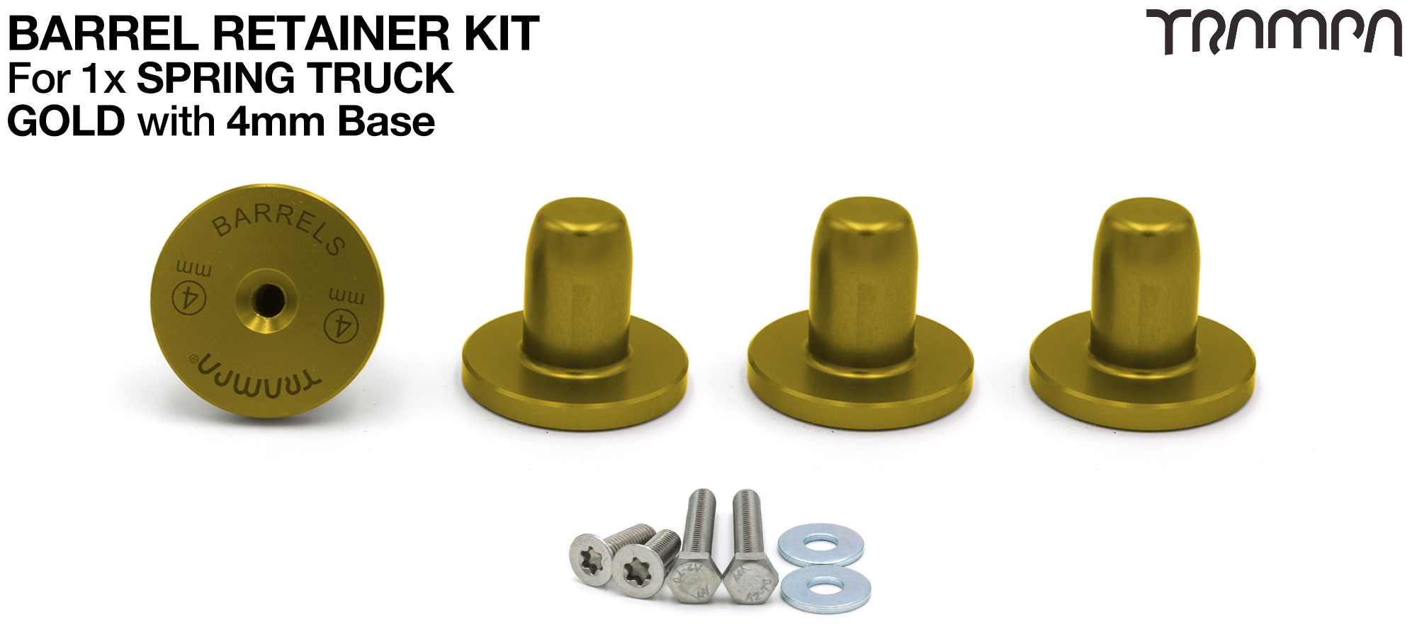 GOLD Barrel Retainers x4 with 4mm Base
