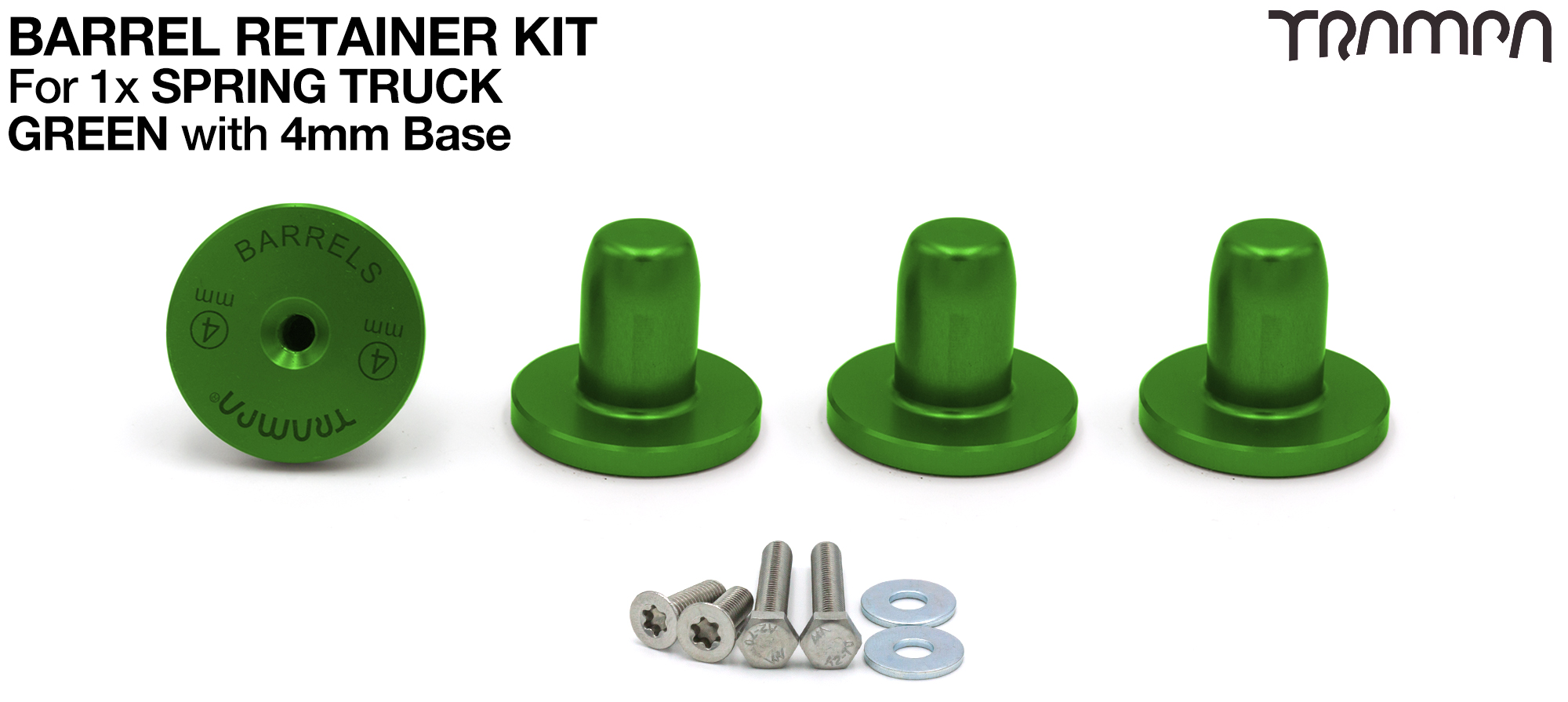 GREEN Barrel Retainers x4 with 4mm Base