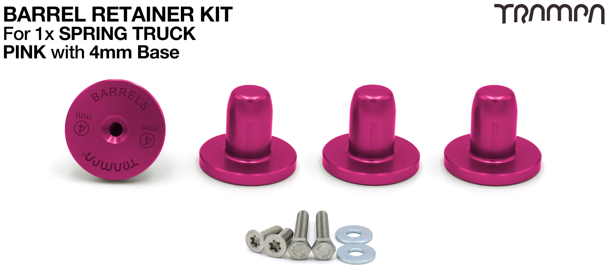 PINK Barrel Retainers x4 with 4mm Base
