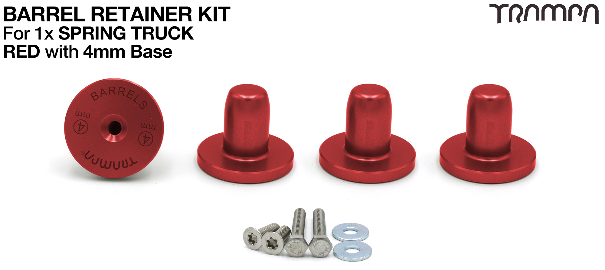 RED Barrel Retainers x4 with 4mm Base RED