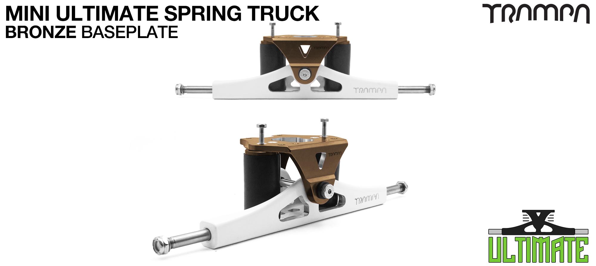 Mini ULTIMATE TRAMPA TRUCKS - CNC FORGED Channel Hanger with 9.525mm TITANIUM Axle CNC Baseplate TITANIUM Kingpin - BRONZE