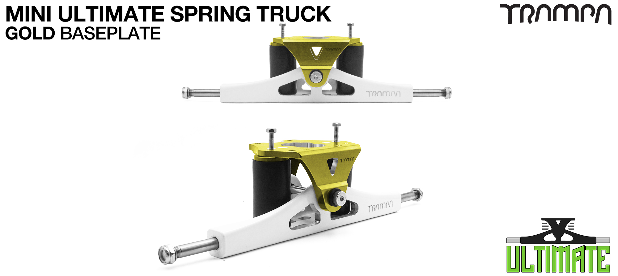 Mini ULTIMATE TRAMPA TRUCKS - CNC FORGED Channel Hanger with 9.525mm TITANIUM Axle CNC Baseplate TITANIUM Kingpin - GOLD